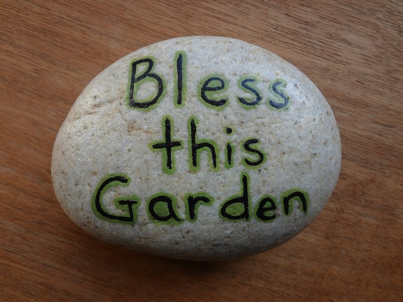 Items similar to bless this garden hand painted stone - Hand painted garden stones ...