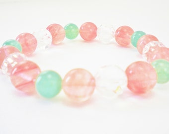 Pink Cherry Quartz, Green Aventurine, and Clear Crystal Beaded Stretch Bracelet / Mother's Day Gift / Spring Jewelry