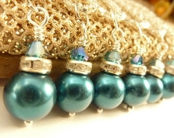 Bridesmaids necklace teal blue pearls silver rhinestones wedding vintage necklace teal and silver