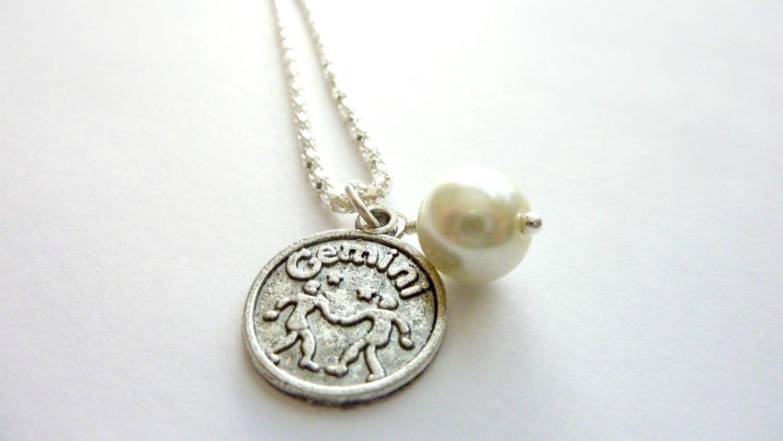 gemini necklace june birthstone zodiac jewelry ivory
