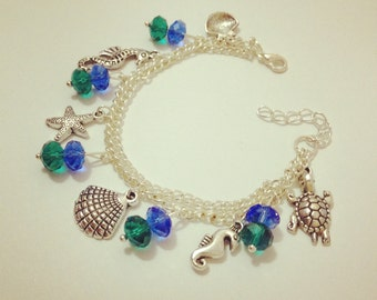 Silver Plated Whimsical Seaside Theme Charm Bracelet Series Turquoise and Sapphire Blue Theme