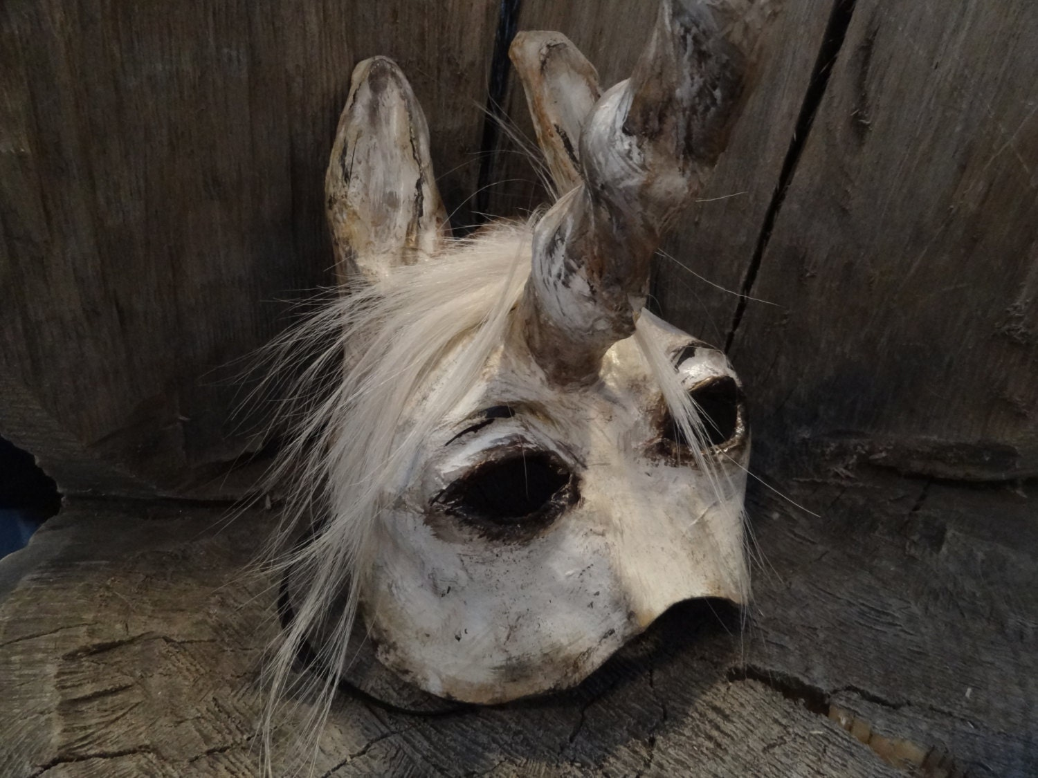 Masquerade masks paper mache horse Unicorn mask