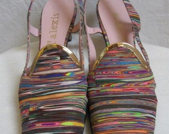 On Sale! 1960's Multi Colored High Heels / Pumps / Sling Back Shoes - Size 9 1/2 Slim