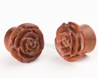 """5/8"""" Pair Red Saba Wood Hand Carved Rose Plugs Organic Body Piercing Jewelry Gauge Earrings"""