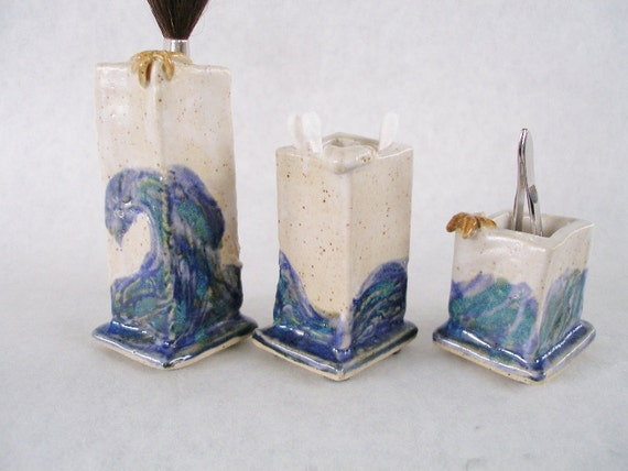 Mermaid pottery clay toothpick Q-tip holder ceramic white blue ocean starfish