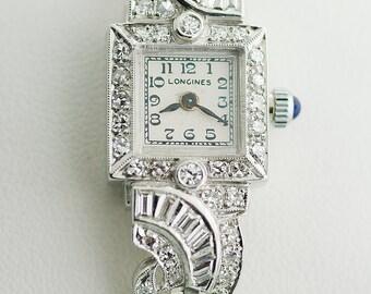 Antique Longines Platinum and Diamond Ladies Watch