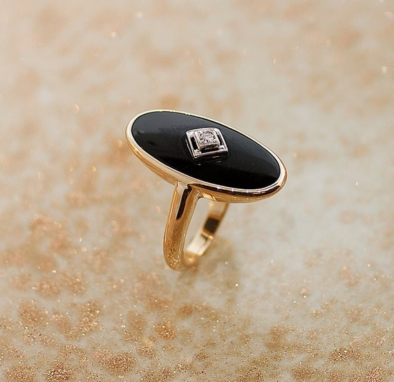 vintage ring vintage black onyx and by thecoppercanary