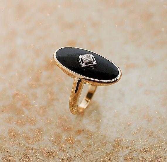 Onyx - Schwarzer Onyx Sterling Silber Ring, Boho - ein