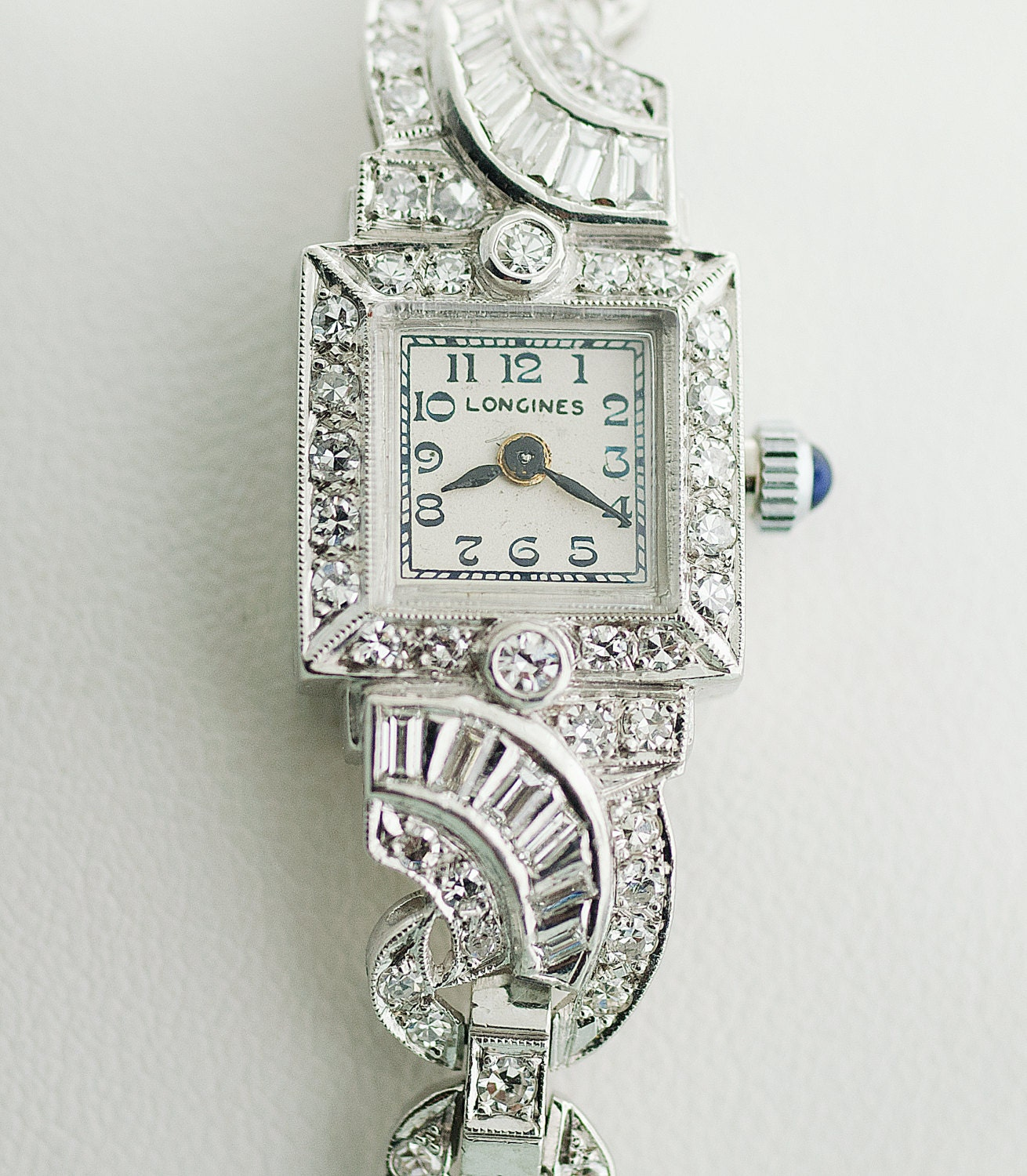 Antique Longines Platinum And Diamond Ladies Watch