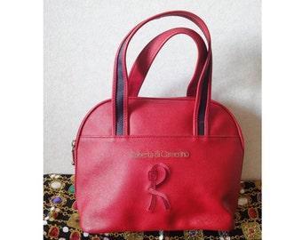 Vintage Roberta di Camerino red purse mini tote with R embroidery. Chic and cute roberta.