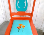Handpainted California Dreamin' Chair with hand embroidered poppies in turquoise and orange