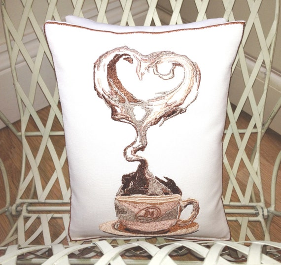 Coffee Love , Artistic Embroidery - Throw Cushion