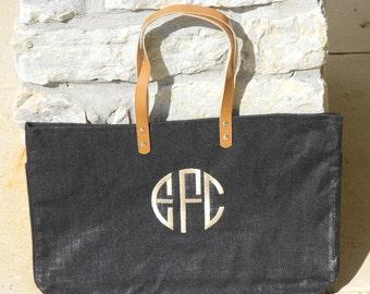 Monogrammed Jute Bag Font Shown NATURAL CIRCLE