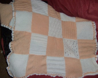Baby Blanket, Hand Knitted, Peach and White Squares, Crochet Border