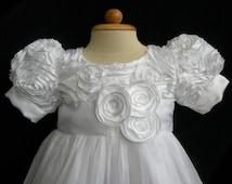 Girls Rosette and Tulle Christening, Flower Girl, Communion, Baptism Dress, 0-24 months, 2t, 3t, 4, 5, 6, 7, 8 , 9 sizes available.