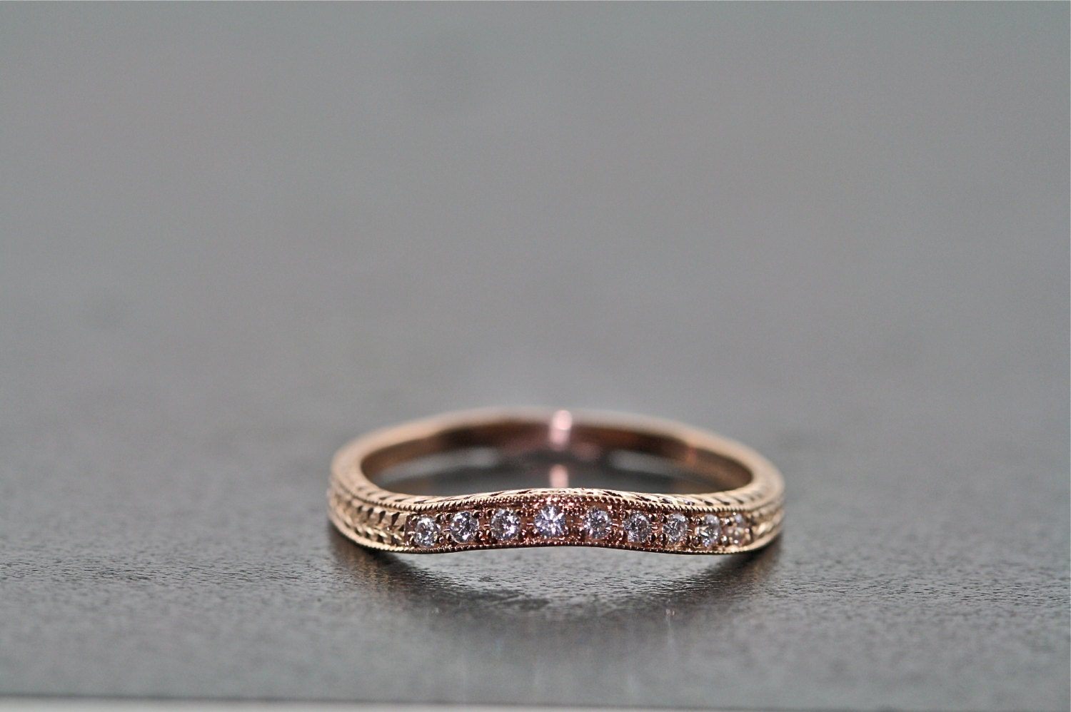 14kt Rose Gold And Diamond Curved Hand Engraved Wedding Band
