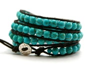 Turquoise leather wrap bracelet - Sterling silver - 4 x wrap - Stone of friendship - Gift for her