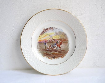 Antique MONTH of the YEAR Plate, NOVEMBER. French Breakfast Plate, Birthday Plate, Stamped l'Amandinoise, St Amand, France.