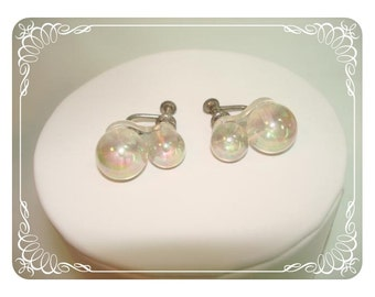 Irridescent Transparent Earrings - Double Graduating Fire Ball Beads     E195a-040812000