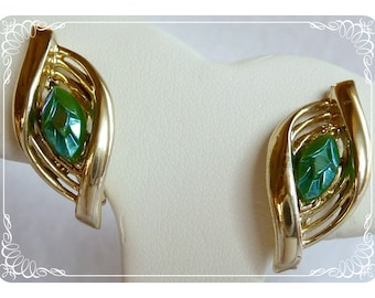 Gold Tone Leaf Clip on Earrings w Turquoise Marquis - E239a-052212000