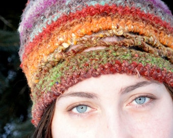 Vibrant Winter Wool Hat with Crisscross Detail