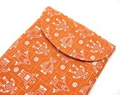 Robot iPad Sleeve, iPad Case, iPad Cover, Fabric iPad Case, in Orange Robot Print, Organic Cotton