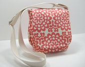 Red Messenger Bag, Small Messenger Bag, Cross Body Bag, Contemporary Floral Print, Coral Red Purse, Amy Butler Print