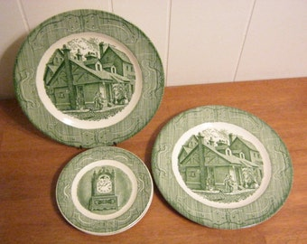 Vintage Royal USA China The Old Curiosity Shop Dickens Classic Homage Plates and Saucers