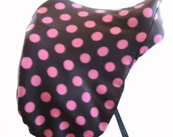 Fleece English Saddle Cover Pink Dot