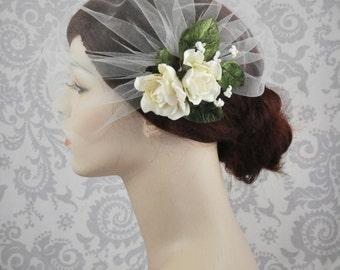 Tulle Birdcage Veil w/ Flower Fascinator, Detachable Veil w/ Flower Clip, Handmade Birdcage Veil, ivory, rose, pink, blush, lavender - 124BC