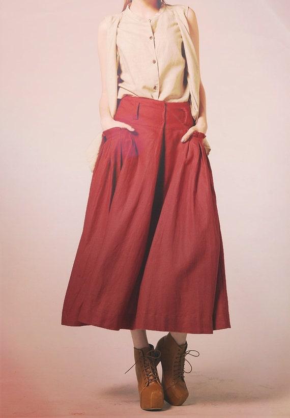 linen maxi skirt in big pocket skirt custom by