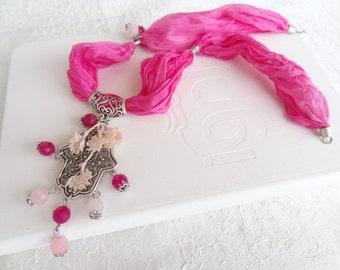 Hamsa-Hand of Fatima Necklace, Fuchsia Agate, Pink Quartz Necklace , Fuchsia Silk Necklace-Silver Plated