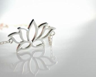 All Sterling Lotus Flower Necklace, nature inspired jewelry, minimalist jewelry, sterling jewelry,charm bracelet