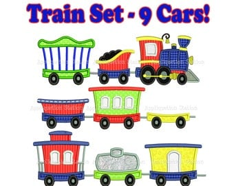 Train Full Set Engine Tender Caboose Cars Set of 9 Applique Machine Embroidery Design boy blue red INSTANT DLOWNLOAD
