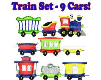 Train Full Set Engine Tender Caboose Cars  Set of 9 Applique Machine Embroidery Design boy blue red INSTANT DLOWNLOAD