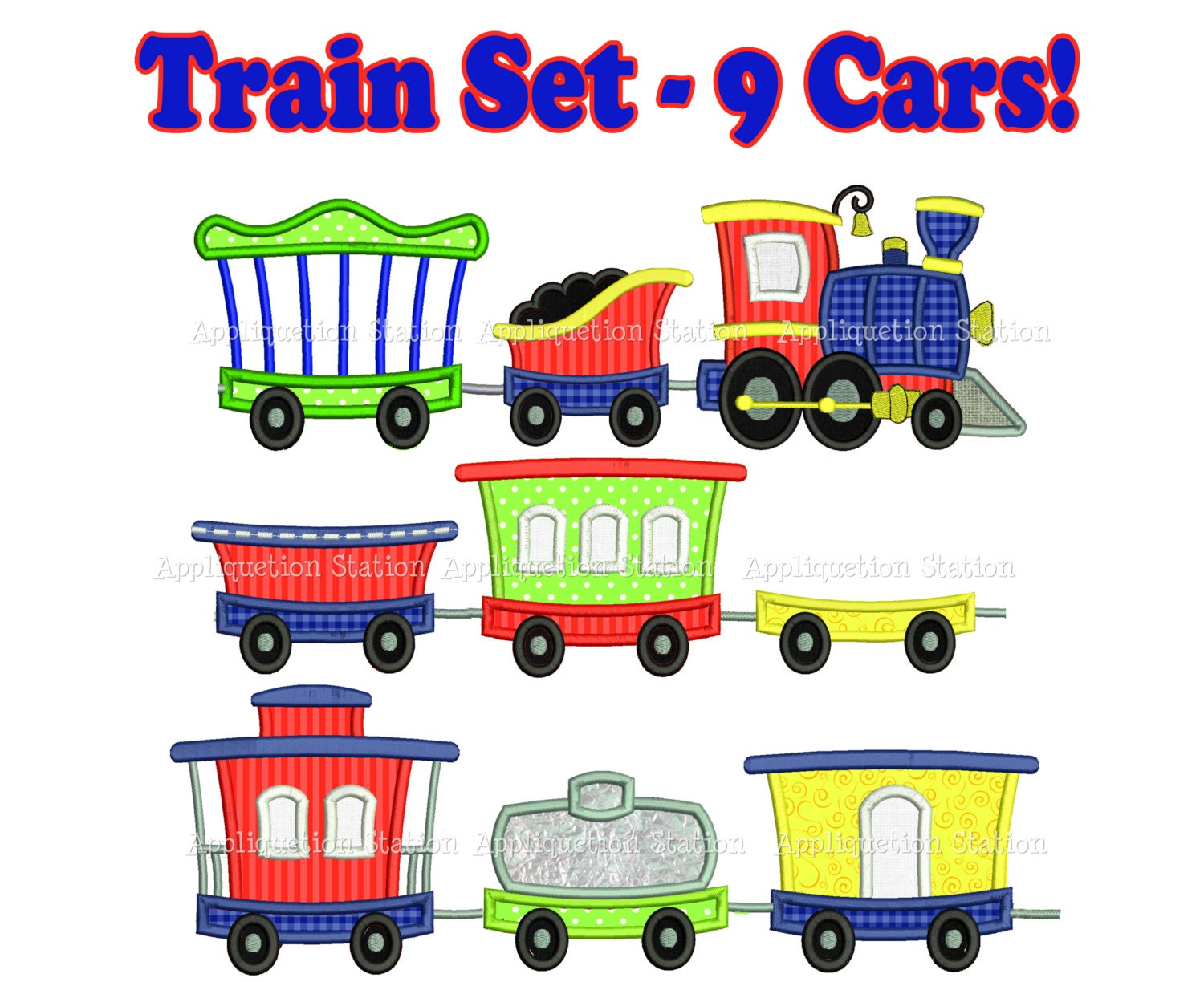 Train full set engine tender caboose cars of