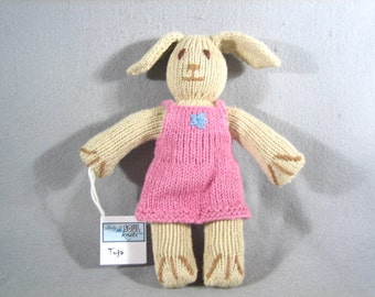 Knitted Toy -Knit Toy- Girl Bunny Toy-Soft toy-Baby Toy-Handmade
