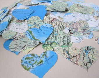 paper hearts wedding confetti party decoration confetti nautical theme maps atlas 500 pieces