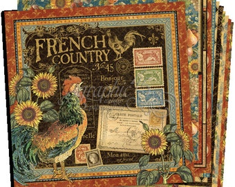 """Graphic 45 """"French Country"""" 12x12 Paper Set - 1 of each 12 design papers - 12 sheets Cardstock Collection"""