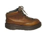 Vintage Dr Martens Brown Leather Air Wair Boots Air Cushion Bouncing Soles - Made in England - UK 5 but fit like US Womens 7