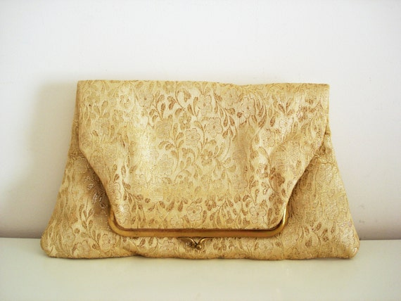 Vintage 50s gold lamé clutch/ metallic floral purse by George Morris for Bergdorf Goodman/ flowers