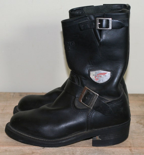 vintage womens red wing motorcycle boots black by TomTomVintage