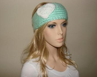 Knit Headband Mint, Love My Mint Heart Knitted Headband, Crochet Headband, Valentine's Day Gift Woman bohemian Head wrap Ear warmer Soft Ski