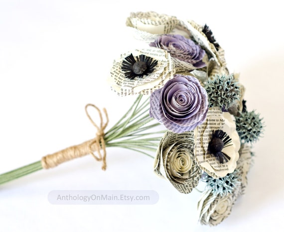 Jane Austen Bridal Bouquet with Roses, Poppies, Sweetgum - IN YOUR COLORS - Eco Friendly Recycled Book Page Wedding Flowers
