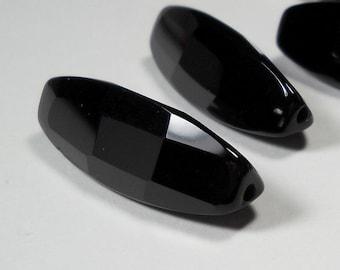 Black Onyx Faceted Triangular Tube 30mm x 9mm x 10mm