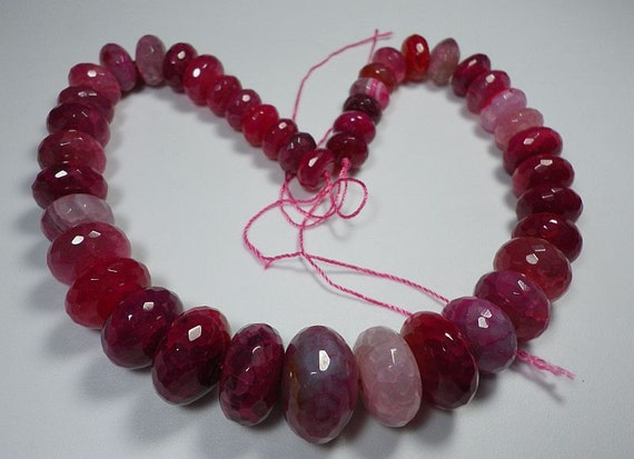 Magenta Pink Purple Crackle Agate Faceted Rondelle Graduating Beads Whole Strand  11.5mm - 21.5mm