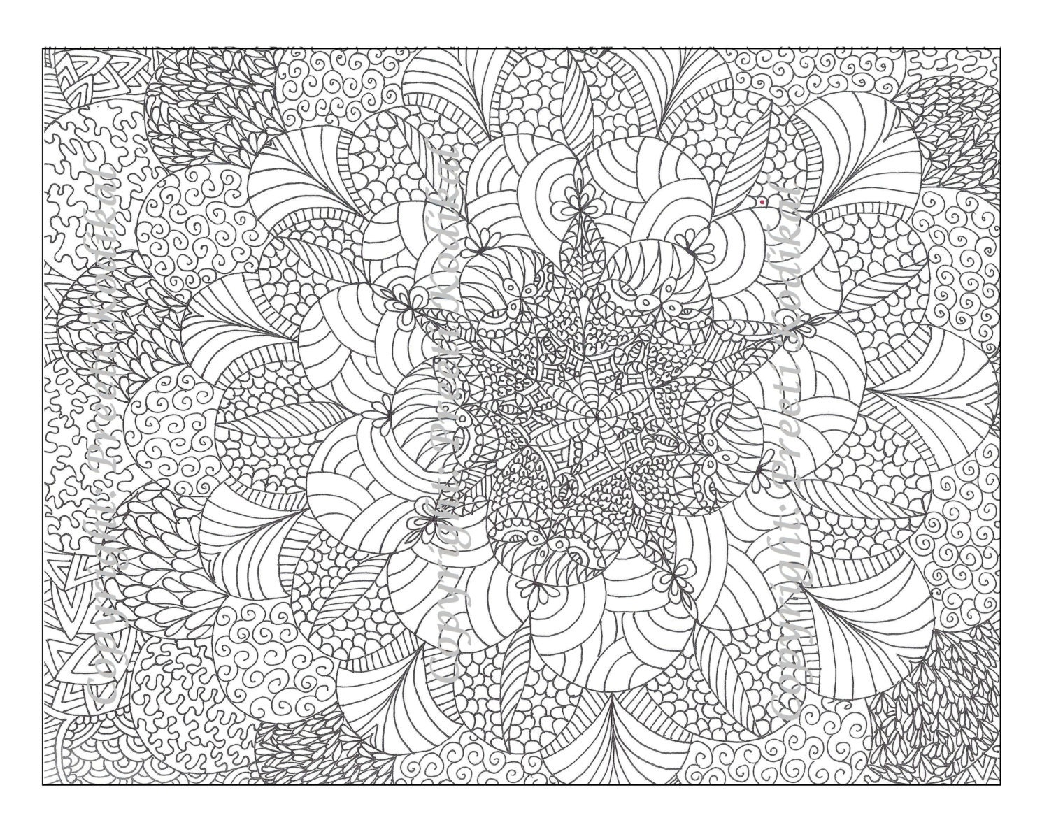 Pen illustration printable coloring page zentangle inspired for Henna coloring pages