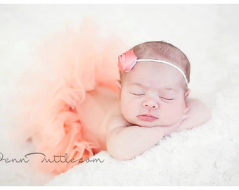 Newborn Tutu Set, Baby Tutu, Tutu Set, Tutu, Headband, Coral Tutu, Rolled Rose Headband, Photo Prop, Coral