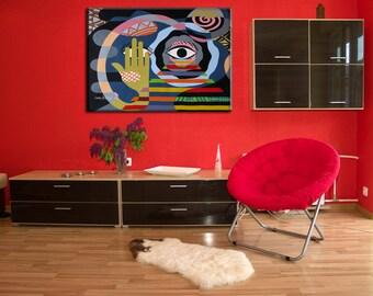 "Geometric Art  Acrylic Painting on Canvas, Original Abstract Painting, Acrylic Cubist Painting on Canvas, Colorful Wall Art, 22"" X  31"""