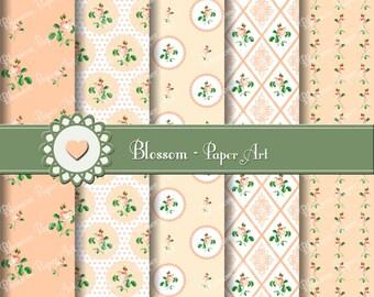 Peach Digital Paper Floral Digital Paper, Scrapbooking Pack, Digital Paper Pack, Vintage Roses - Wedding Paper - 1614